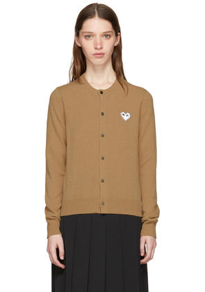Comme Des Garçons Play Tan and White Heart Patch Cardigan