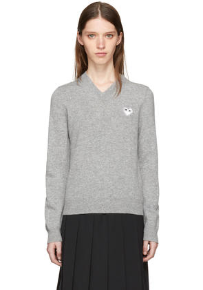 Comme Des Garçons Play Grey and White Heart Patch V-neck Sweater