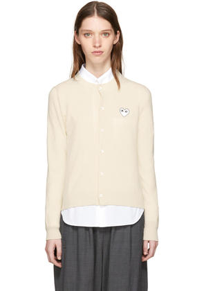 Comme Des Garçons Play Ivory and White Heart Patch Cardigan