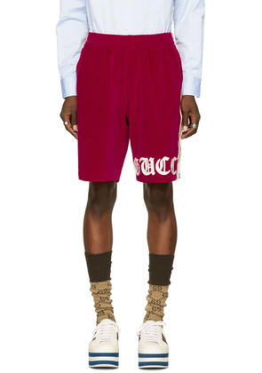 Gucci Red Velour Logo Shorts