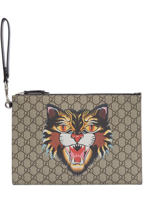 Gucci Beige Gg Supreme Angry Cat Pouch