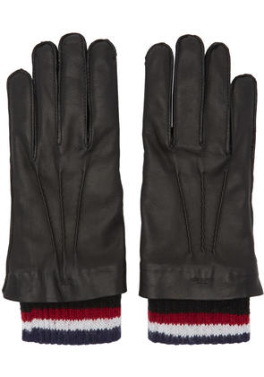 Thom Browne Black Leather and Cashmere Exposed Seam Gloves