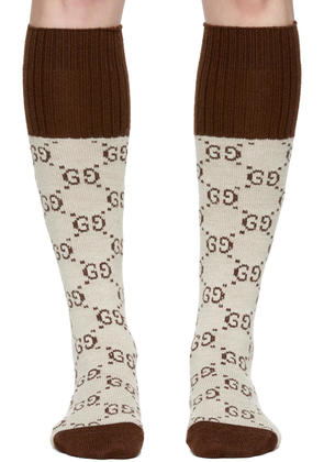 Gucci Beige Knee-high Gg Socks