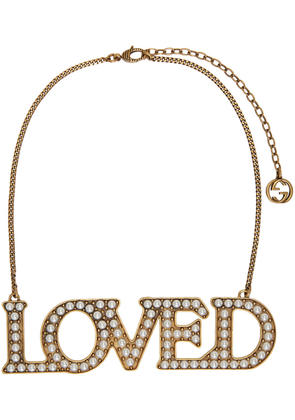 Gucci Gold Pearl loved Necklace