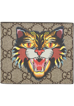 Gucci Beige Angry Cat Gg Supreme Wallet