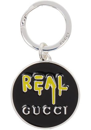 Gucci Silver and Black real Guccighost Keychain