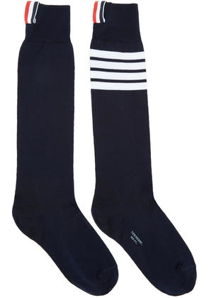 Thom Browne Navy Ribbed Knee-high Four Bar Socks
