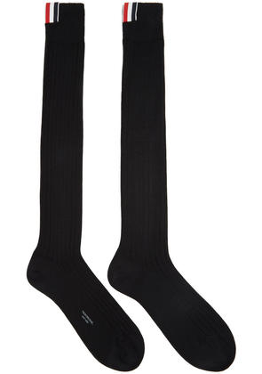 Thom Browne Black Ribbed Knee-high Socks