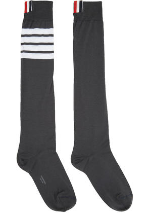 Thom Browne Grey Ribbed Knee-high Four Bar Socks