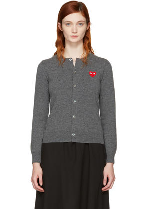 Comme Des Garçons Play Grey and Red Heart Patch Cardigan