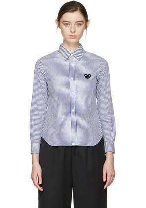 Comme Des Garçons Play Blue and White Striped Heart Patch Shirt