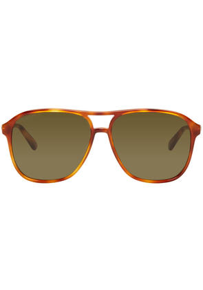 Gucci Tortoiseshell Retro Aviator Sunglasses