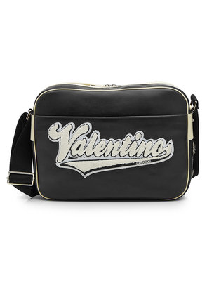 Valentino Leather Messenger Bag with Appliqu © Logo
