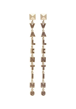 Pavé logo drop earrings