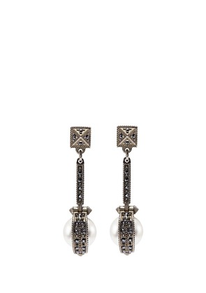 Crystal faux pearl geometric drop earrings