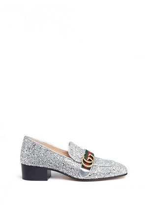 Web stripe glitter leather loafers