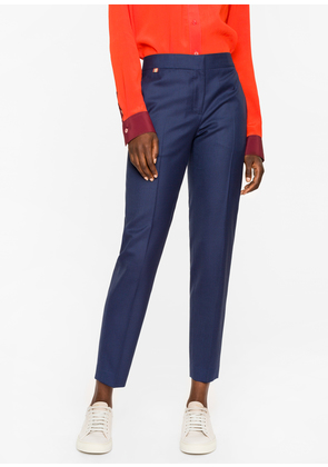 A Suit to Travel In - Women's Classic-Fit Navy Puppytooth Wool Trousers