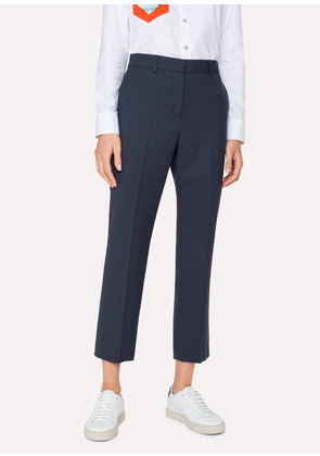 A Suit To Travel In - Women's Blue Slim-Fit Wool Trousers
