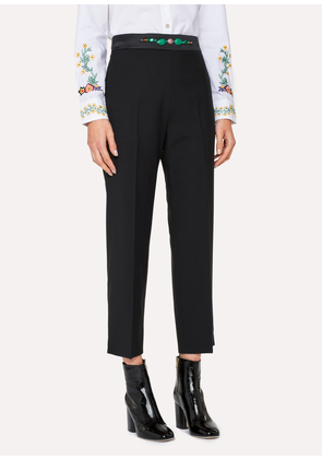 Women's Slim-Fit Black Wool-Mohair Trousers With Jewel Embellishment