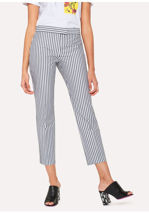 Women's Slim-Fit Grey And White Stripe Cotton Trousers