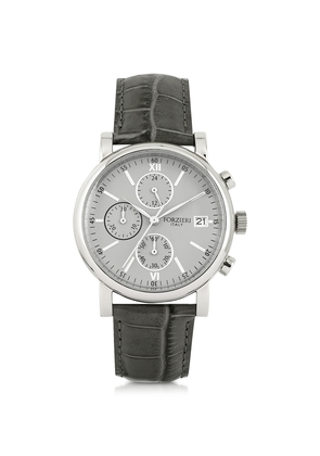 Forzieri Men's Watches, Berlino Silver Tone Stainless Steel Case and Genuine Embossed Leather Men's Chrono Watch
