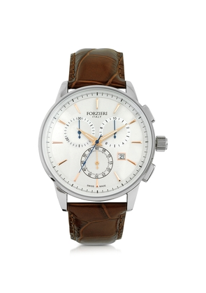 Forzieri Men's Watches, Viareggio Silver Tone Stainless Steel Case and Brown Embossed Leather Men's Chrono Watch