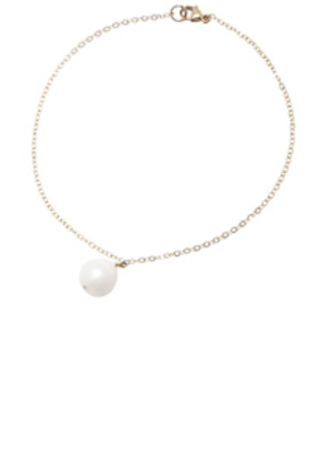 ERTH 14K Gold Pearl Drop Anklet with Diamond in Metallics