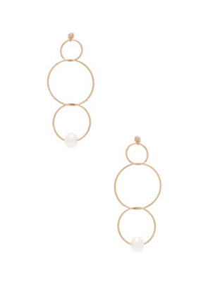 ERTH 14K Gold Pearl Ring Drop Earring in Metallics