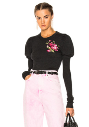 Dolce & Gabbana Crewneck Puff Sleeve Sweater in Black,Gray,Floral