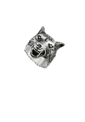 Gucci Anger Forest Wolf Head Ring in Metallics