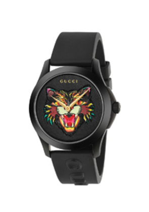 Gucci 38MM G-Timeless Feline Head Motif Watch in Black