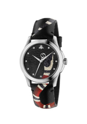 Gucci 38MM Le Marche des Merveilles Printed Snake Watch in Black,Animal Print