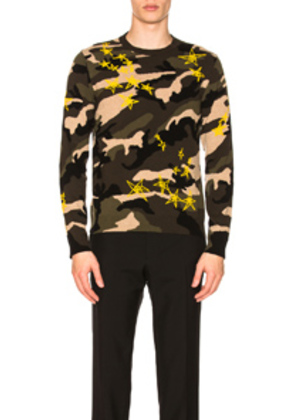 Valentino Star Print Sweater in Green,Abstract