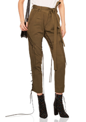 Saint Laurent Lace Up Military Gabardine Pants in Green