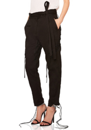 Saint Laurent Lace Up Military Gabardine Pants in Black