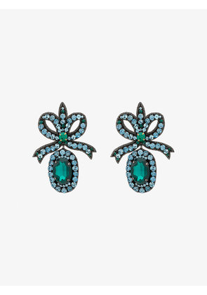 Gucci crystal embellished bow earrings