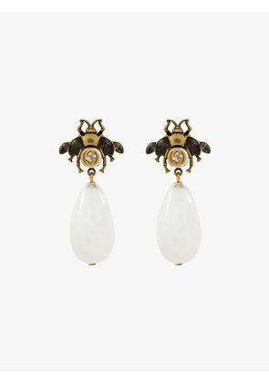 Gucci bee drop faux pearl earrings