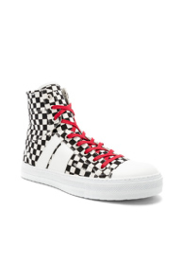 Sunset Canvas Check Sneakers in White,Checkered & Plaid,Black Amiri