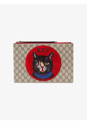 Gucci Brown Cat Embroidered Suede Pouch