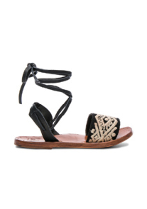 Beek Leather & Embroidery Toucan Sandals in Black