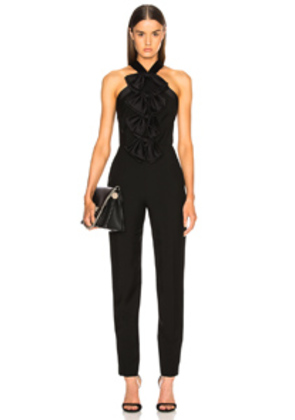 Givenchy Bow Front Cross Back Jumpsuit in Black