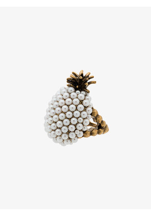 Gucci faux pearl embellished pineapple ring