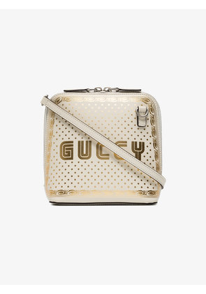 Gucci White Guccy mini leather bag with stars