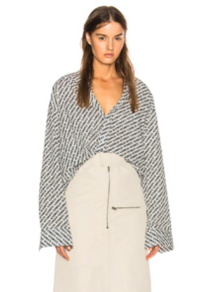 VETEMENTS Monogram Oversized Shirt in Abstract,White