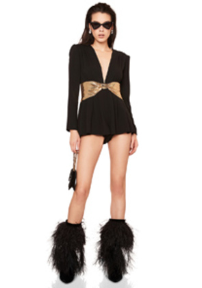 Saint Laurent Sequin Bow Belt Romper in Black