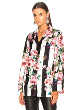 Dolce & Gabbana Floral Striped Twill Pajama Top in Floral,White,Pink,Stripes