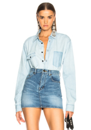 Saint Laurent Oversized Chambray Shirt in Blue