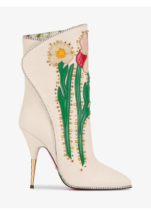 Gucci Cream Flowers 110 leather boots