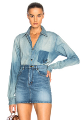 Saint Laurent Oversized Denim Shirt in Blue