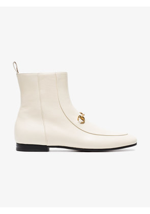 Gucci White Jordaan 25 Leather Ankle Boots